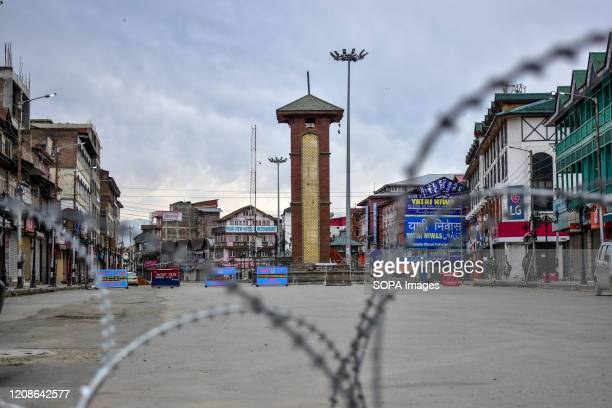 SRINAGAR JAMMU KASHMIR INDIA View of a deserted City Centre during a nationwide lockdown imposed to prevent the spread of coronavirus in Srinagar...