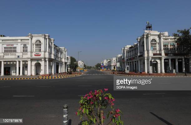 View of a deserted Connaught Place due to the spread of the coronavirus. India observed countrywide lockdown to practice social distancing in...