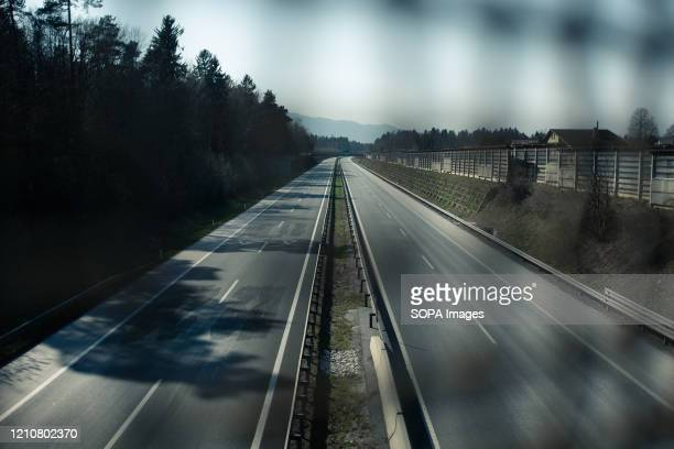 View of a deserted highway during the Coronavirus lockdown crisis. Slovenia has confirmed 1,366 coronavirus cases, 79 deaths and 197 recovered.