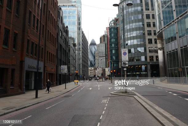 A view of a deserted Liverpool Street during the coronavirus crisis Streets are nearly empty in London during the second week of the UK lockdown...