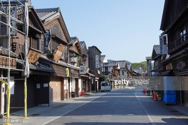 View of a deserted main tourist street near Ise Shrine amid COVID-19 pandemic. Japan's emergency declaration, which was set to expire on May 6 when...