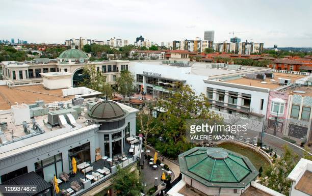 View of a deserted outdoor mall The Grove during the Covid 19 crisis on April 7 In Los Angeles