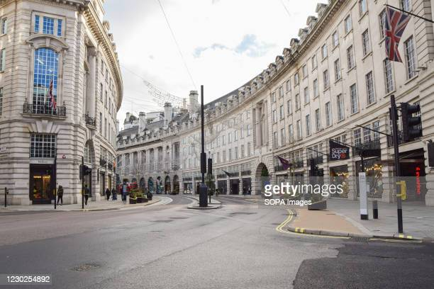 View of a deserted Regent Street, as shops and businesses close once again. London has imposed even tougher restrictions as cases surge and a new...