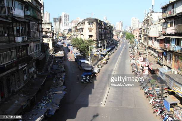 A view of a deserted road in Mumbai as Prime Minister Narendra Modi urged a countrywide public curfew starting from 7 am to 9 pm to practice social...