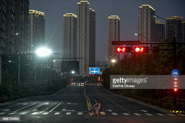 View of a deserted street of Hangzhou during the G20 Hangzhou Summit on September 2 2016 in Hangzhou China