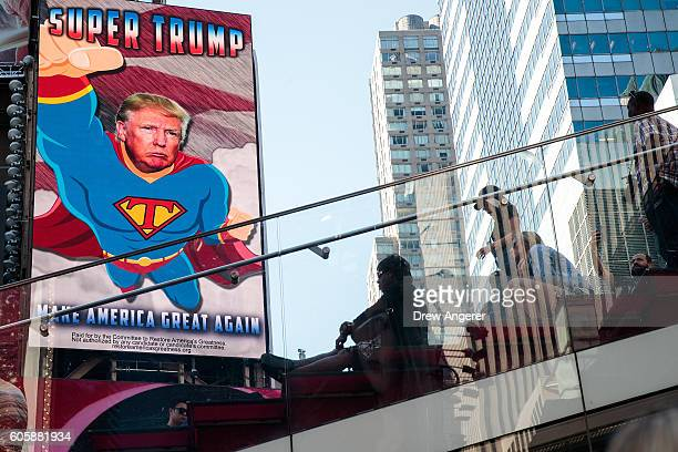 A view of a digital billboard supporting Donald Trump in Times Square September 15 2016 in New York City The billboard was paid for by a proTrump...