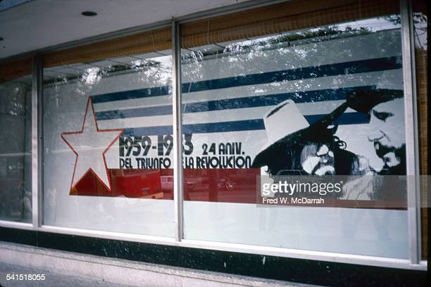 View of a display which commemmorates the 24th anniversary of the Revolution in the window of a building in the Vedado district Havana Cuba January...