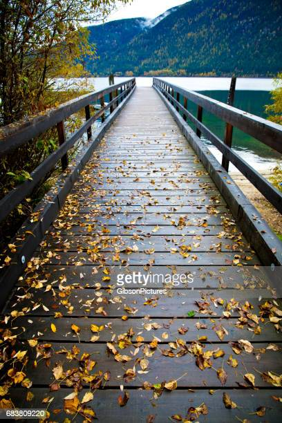 A view of a dock on a rainy day on Kootenay Lake near Nelson, British Columbia, Canada.