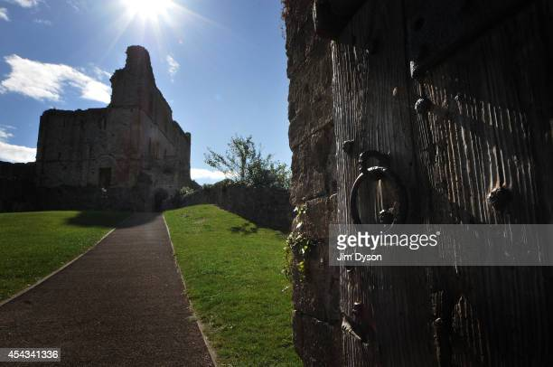 A view of a doorway looking towards the ruins of the great tower at Chepstow Castle on August 17 2014 in Chepstow Wales Construction on Chepstow...