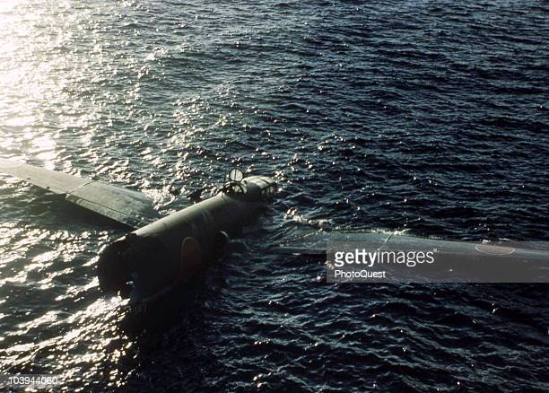 View of a downed Japanese Mitsubishi G4M bomber as it floats floating off Tulagi Solomon Islands August 9 1942 The photo was taken from the USS Ellet...
