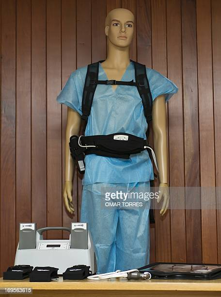 View of a dummy displaying the Ventricula Assist device during a press conference in Mexico City on May 27, 2013. The device, connected to one of the...