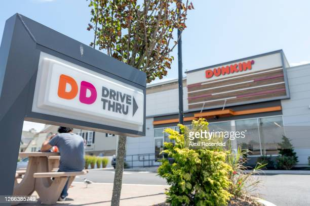 View of a Dunkin' Donuts drive through sign is seen as the state of New Jersey continues Stage 2 of re-opening following restrictions imposed to slow...