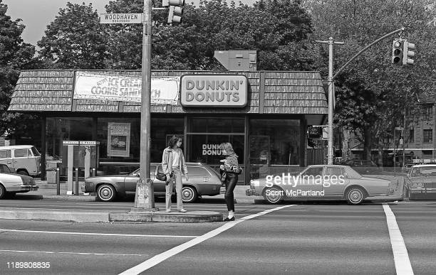 View of a Dunkin Donuts shop at the intersection of Woodhaven Boulevard and 63rd Drive in the Rego Park neighborhood Queens New York New York May 19...