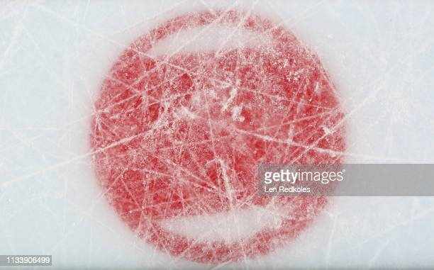 I view of a faceoff logo during an NHL game between the Philadelphia Flyers and the Buffalo Sabres on February 26 2019 at the Wells Fargo Center in...