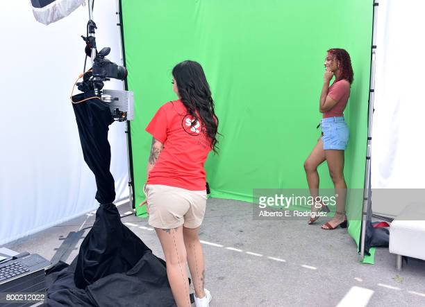 A view of a fan in the photo booth during day one of the Pool Groove sponsored by McDonald's during the 2017 BET Experience at Gilbert Lindsey Plaza...