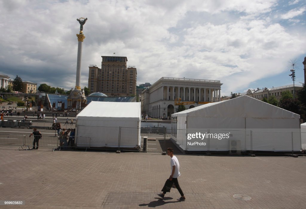 View of a fan zone of the UEFA Champions League final in central Kiev, Ukraine, 18 May, 2018. The football UEFA Champions League final match between Real Madrid and Liverpool FC next May 26 at the NSC Olimpiyskiy Stadium.