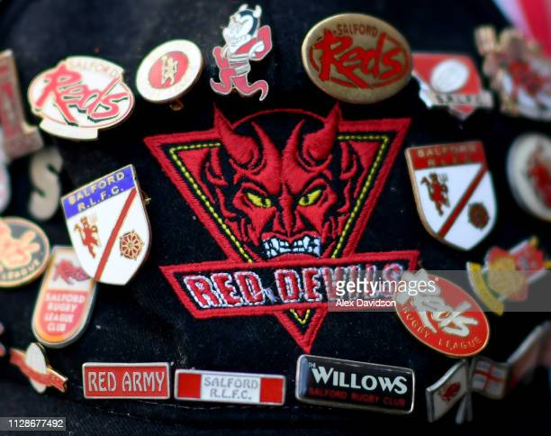 A view of a fan's cap prior to the Betfred Super League match between Salford Red Devils and London Broncos at AJ Bell Stadium on February 10 2019 in...