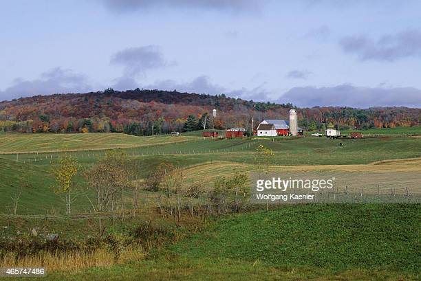 View of a farm with rolling hills in the fall near Montebello in the Laurentians in Quebec Province Canada