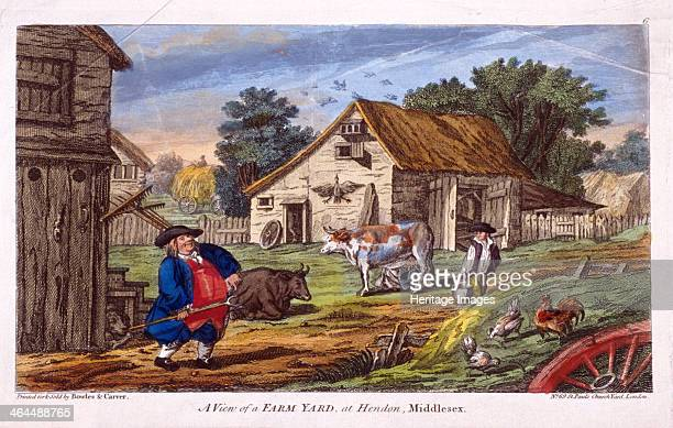 View of a farmyard in Hendon in the London borough of Barnet c1795 A man stands in the foreground holding a fork with two cows behind him and some...