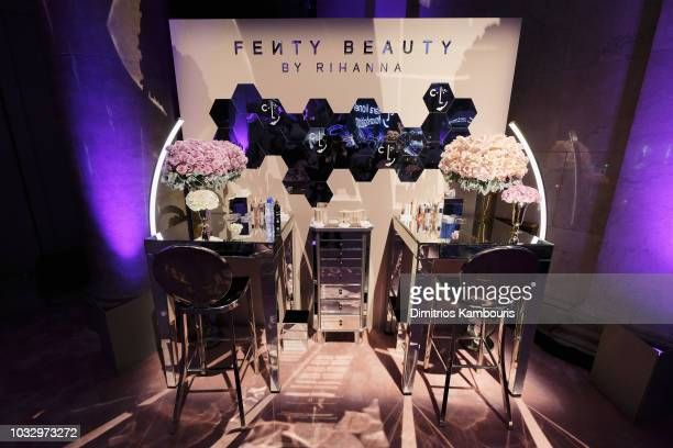 A view of a Fenty Beauty activation during Rihanna's 4th Annual Diamond Ball benefitting The Clara Lionel Foundation at Cipriani Wall Street on...
