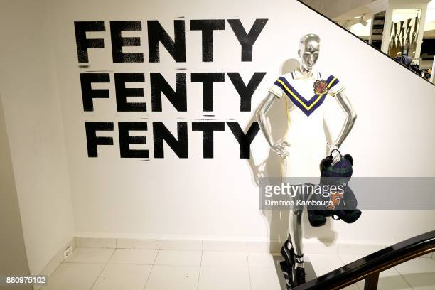 View of a FENTY PUMA display at a pep rally hosted by Rihanna to celebrate the launch of the AW17 FENTY PUMA by Rihanna collection at Bloomingdales...