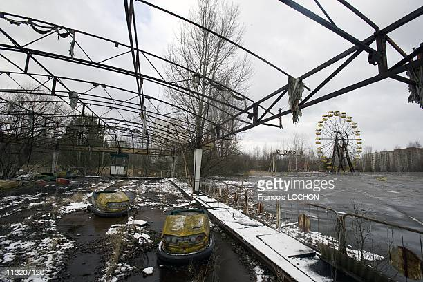A view of a ferris wheel and fairground on February 1 2007 in Pripyat Ukraine