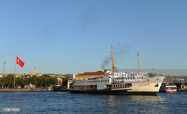 A view of a ferry in Kadikoy harbour on the Bosphorus on June 19 2013 in Istanbul Turkey