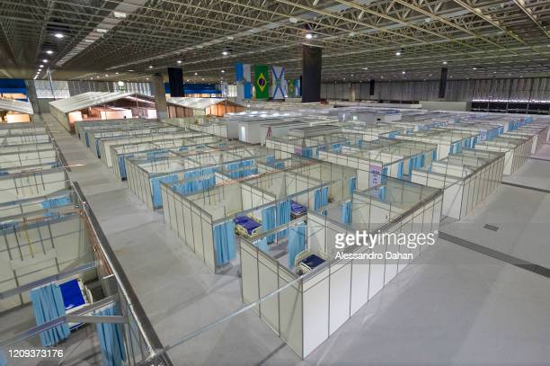 View of a field hospital under construction in Riocentro Convention Center on April 07 2020 in Rio de Janeiro Brazil The facility is being set up...