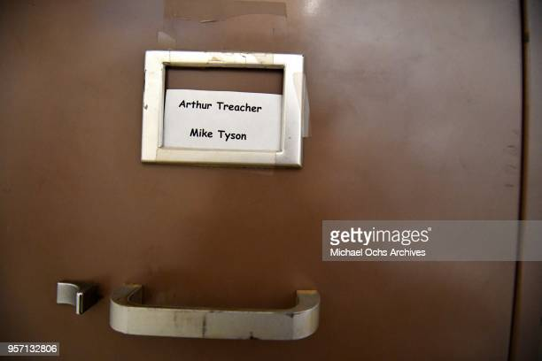 A view of a file cabinet that reads Arthur Treacher Mike Tyson in the Michael Ochs Archives on May 10 2018 in Los Angeles California