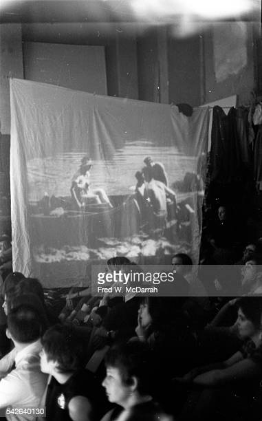 View of a film projected on a sheet as a part of Robert Rauschenberg's multimedia dance project 'Linoleum' New York New York May 29 1968