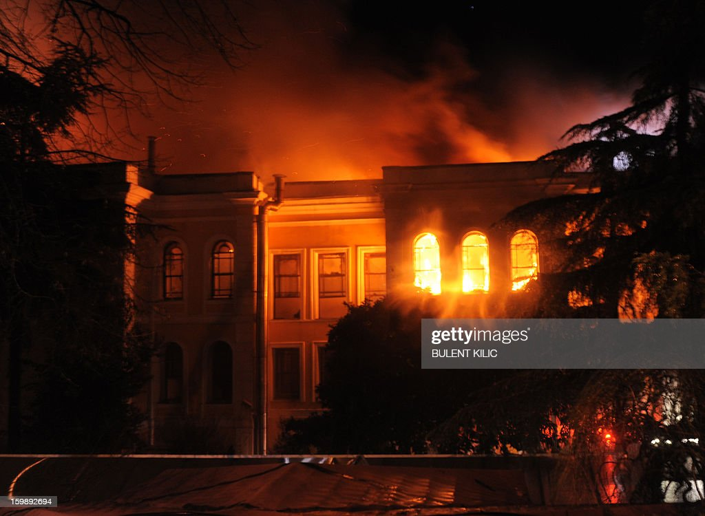 View of a fire at the Galatasaray University as Istanbul firemen try to control the flames on January 22, 2013, in Istanbul.