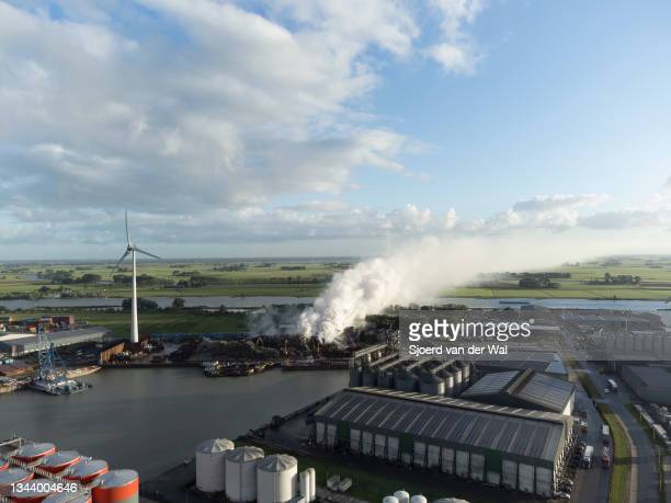 View of a fire at the Houben metal scrapyard on September 30, 2021 in Kampen, The Netherlands.