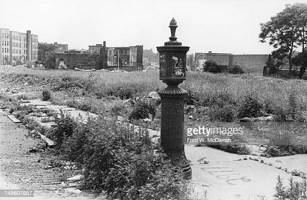 View of a fire department call box on a vacant lot in the Bronx at the intersection of East 170th Street Charlotte Street and Seabury Place New York...