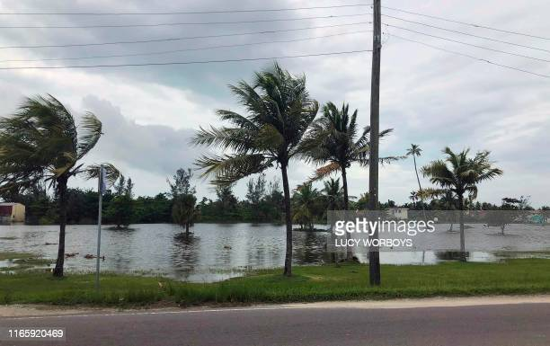 TOPSHOT View of a flooded area in Saunders Beach Nassau on September 3 2019 At least seven people have been killed in the Bahamas by Hurricane Dorian...