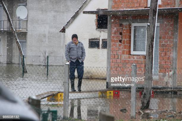 A view of a flooded house after the overflowing of Sava River in Banja Luka Bosnia and Herzegovina on March 20 2018 Many houses and working places in...