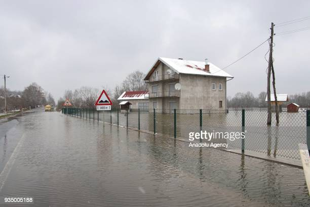 A view of a flooded house and a work place after the overflowing of Sava River in Banja Luka Bosnia and Herzegovina on March 20 2018 Many houses and...