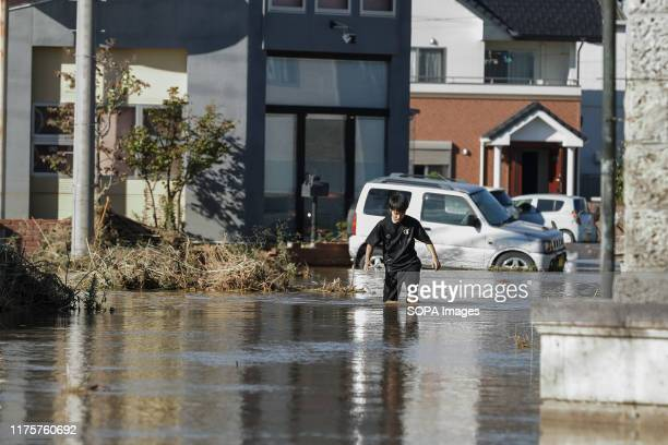 View of a flooded residential area. Death toll rises to 30 two days after Typhoon Hagibis pass through Japan while 15 still missing as thousands of...