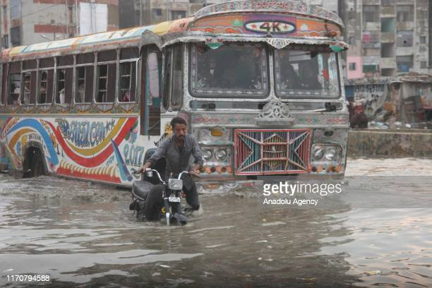 View of a flooded road after heavy monsoon rains in Karachi, Pakistan on September 24, 2019.