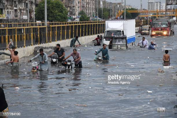 A view of a flooded road after heavy monsoon rains in Karachi Pakistan on July 26 2020