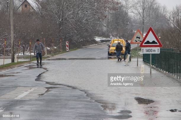 A view of a flooded road after the overflowing of Sava River in Banja Luka Bosnia and Herzegovina on March 20 2018 Many houses and working places in...