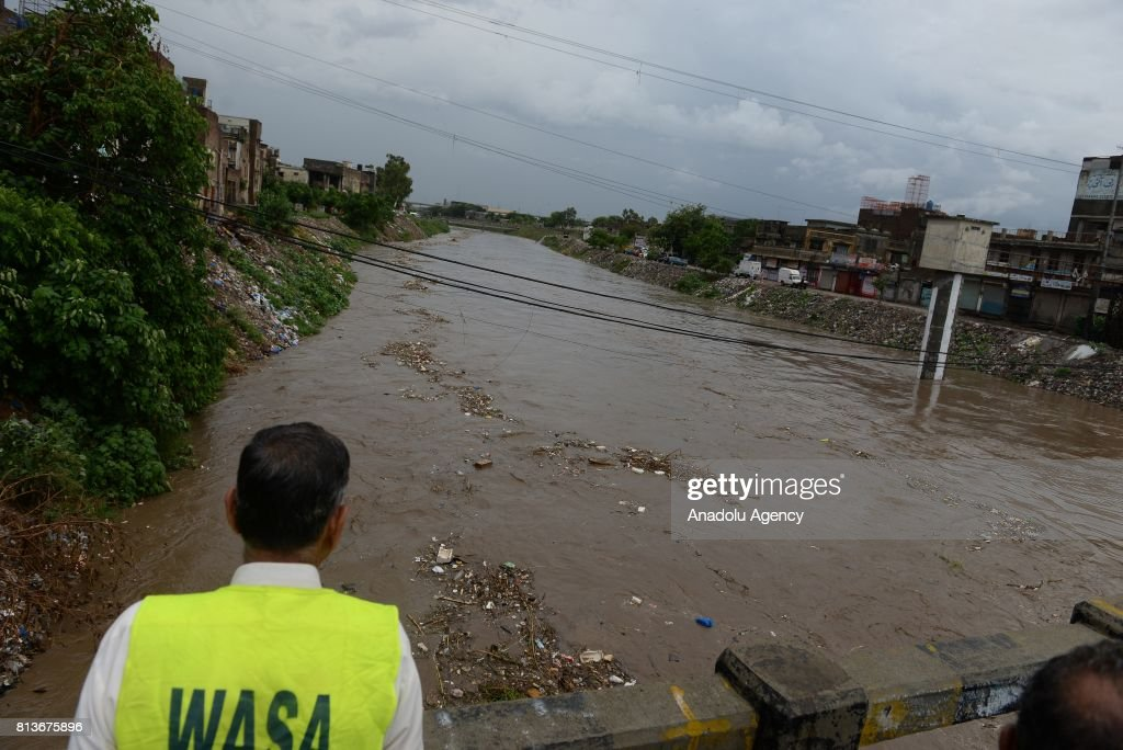 A view of a flooded stream passing through the city after heavy monsoon rains hit Rawalpindi province of Pakistan on July 13 2017 Heavy monsoon rains.