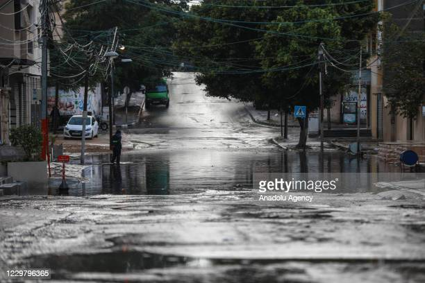 A view of a flooded street caused by rainfall in Gaza City Gaza on November 26 2020