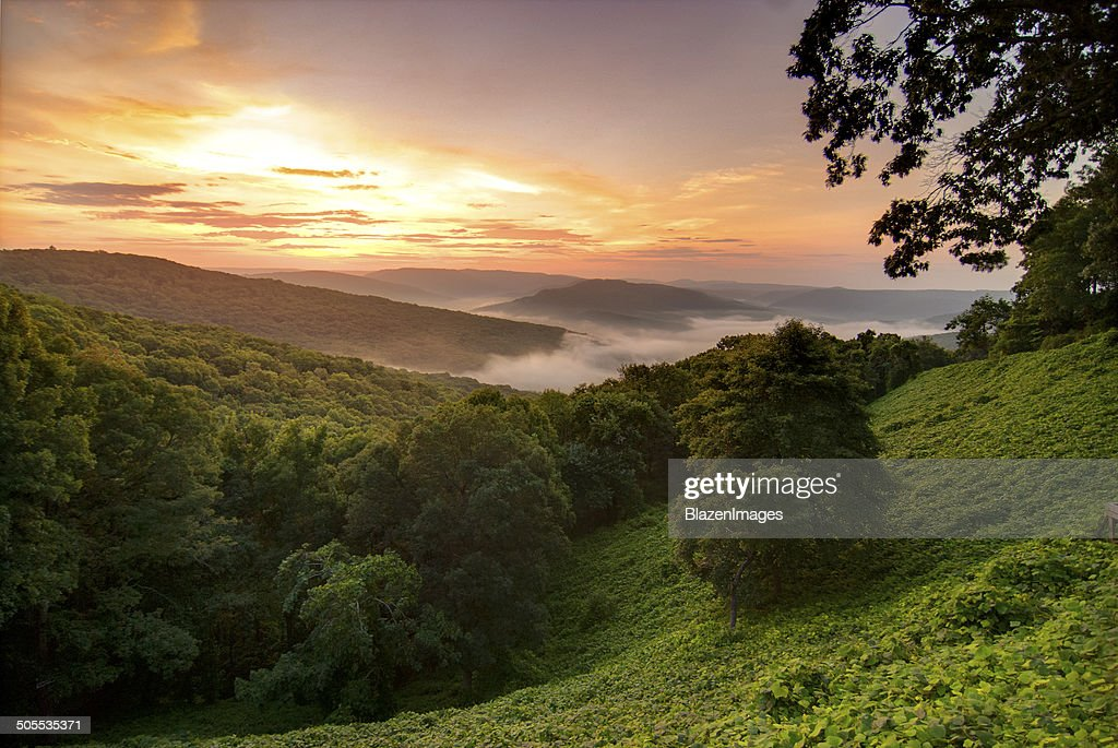 View of a foggy sunrise in the Ozark Mountains : Stock Photo