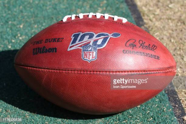A view of a football with the 100th NFL season logo during an NFL matchup between the Houston Texans and Kansas City Chiefs on October 13 2019 at...