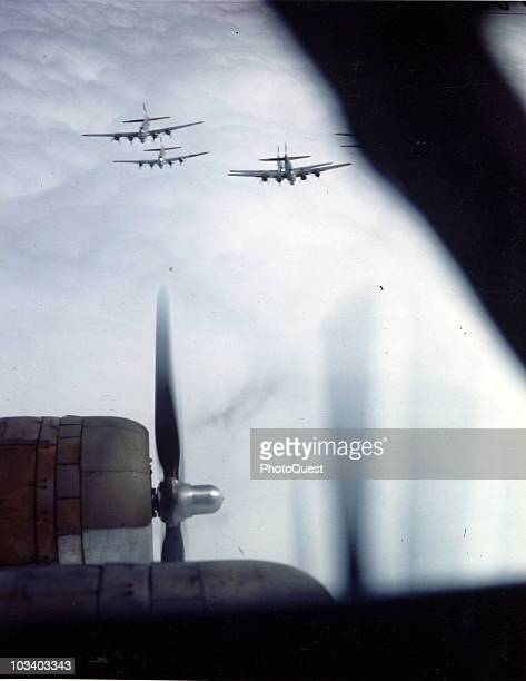 View of a formation of B17 Flying Fortress bombers of the 8th Air Force somewhere over England mid1940s