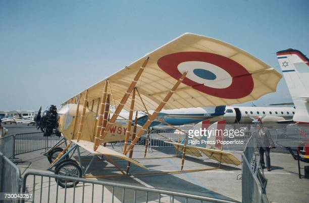 View of a French built Caudron G3 biplane widely used as a reconnaissance plane in World War I on static display at Le Bourget Airport during the...