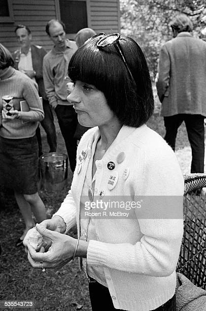 View of a French film director Agnes Varda as she stands outside during a visit to Stan Vanderbeek's studio and 'Movie Drome' theatre as part of the...