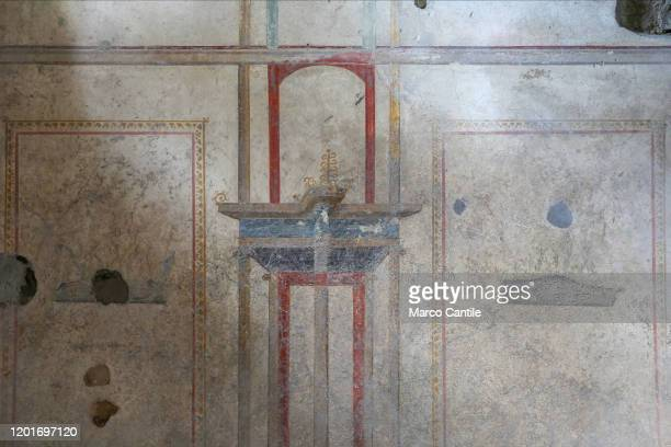 View of a fresco in the House of Lovers, opened for the first time today to the public, inside the excavations of Pompeii.
