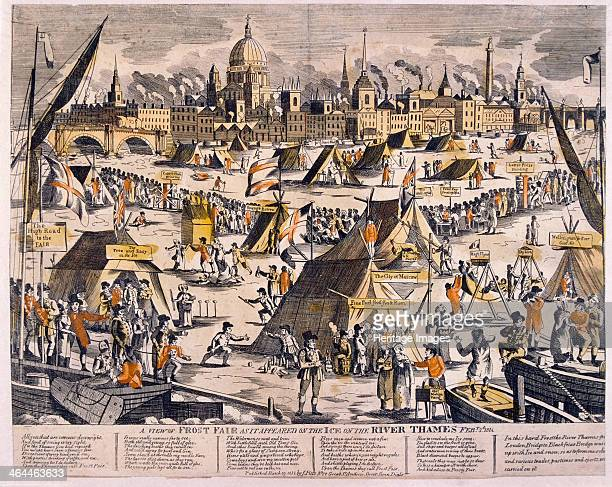 View of a frost fair on the River Thames in 1814, copperplate and letterpress printers can be seen at work on the ice and in the foreground a hot...