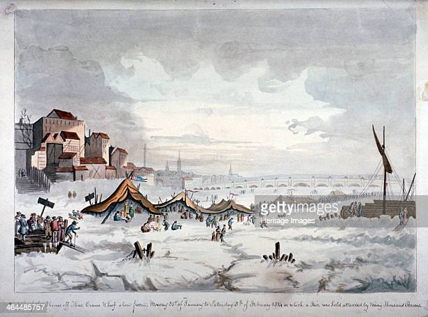 View of a frost fair on the River Thames London 1814 Three Cranes Wharf is on the left 1814 saw the last frost fair to be held on the Thames in London